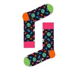 Čierne ponožky Happy Socks s farebným vzorom Peace and Love