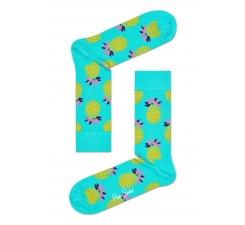 Tyrkysové ponožky Happy Socks s žltými ananásmi, vzor Pineapple
