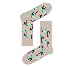 Béžové ponožky Happy Socks s farebnými palmami, vzor Palm