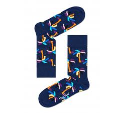 Modré ponožky Happy Socks s farebnými palmami, vzor Palm