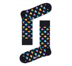 Černé ponožky Happy Socks s farebnými pyramídkami, vzor Pyramid