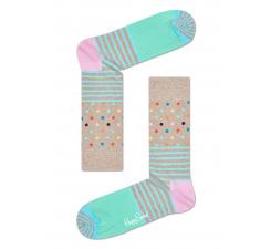 Béžové ponožky Happy Socks s farebným vzorom Stripe Dot