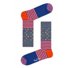 Sivé ponožky Happy Socks s farebným vzorom Stripe Dot