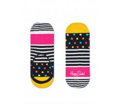 Nízke vykrojené černobiele ponožky Happy Socks s farebným vzorom Stripe Dot