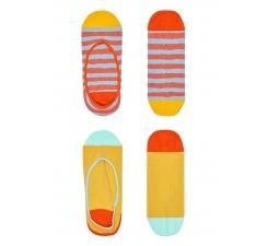 Dámské žlto-oranžové vykrojené ponožky Happy Socks Claudia, dvojbalenie // kolekcia Hysteria