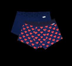Dvoje boxerky, vzor Smiley Heart - modré