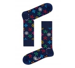 Modré ponožky Happy Socks s farebnými vločkami, vzor Snowflake