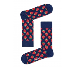 Modré ponožky Happy Socks s červenými jahodami, vzor Strawberry