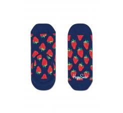 Nízke vykrojené modré ponožky Happy Socks s červenými jahodami, vzor Strawberry