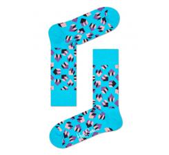 Tyrkysové ponožky Happy Socks s farebným vzorom Steps