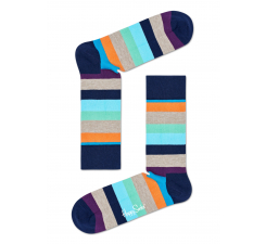 Farebné (modré) pruhované ponožky Happy Socks, vzor Stripe