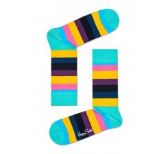 Farebné (tyrkysové) pruhované ponožky Happy Socks, vzor Stripe