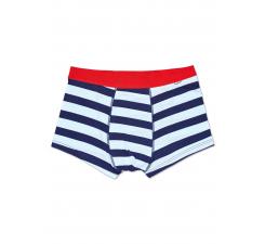 Modro-biele pruhované boxerky Happy Socks, vzor Stripes
