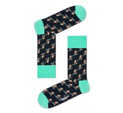 Čierne ponožky Happy Socks s farebnými surfistmi, vzor Surfer