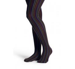 Černé punčocháče Happy Socks s barevnými proužky