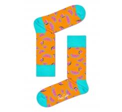 Oranžové ponožky Happy Socks s farebnými melónmi, vzor Watermelon