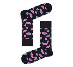 Čierne ponožky Happy Socks s farebnými melónmi, vzor Watermelon