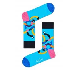 Tyrkysové ponožky Happy Socks s farebnými jazvečíkmi, vzor Wiener Dog
