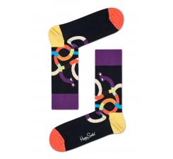 Čierne ponožky Happy Socks s farebnými jazvečíkmi, vzor Wiener Dog