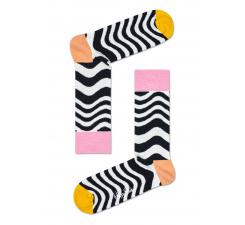 Čierno-biele ponožky Happy Socks so zvlneným vzorom Wavy