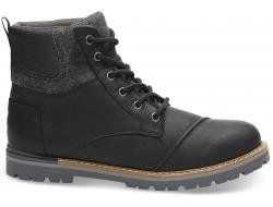 Pánske čierne členkové topánky TOMS Leather Ashland