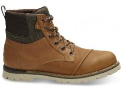 Pánske hnedé členkové topánky TOMS Leather Ashland