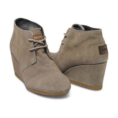 Šedé dámské semišové boty na klínku TOMS