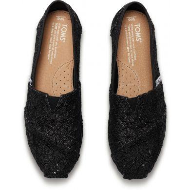 Černé dámské TOMS Glitter Crochet Alpargata