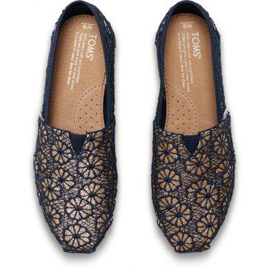 Modro-zlaté dámské TOMS Glitter Crochet Alpargata