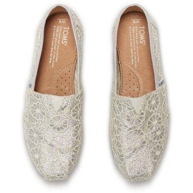 Stříbrné dámské TOMS Glitter Crochet Alpargata