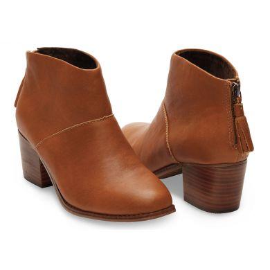 Hnedé dámske kožené členkové topánky TOMS Leila Bootie