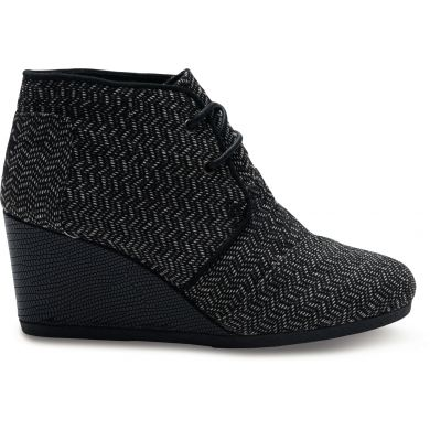 Black Herringbone Women's Desert Wedge Boot