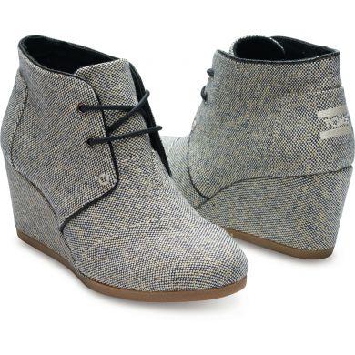 Černo-zlaté boty na klínku TOMS