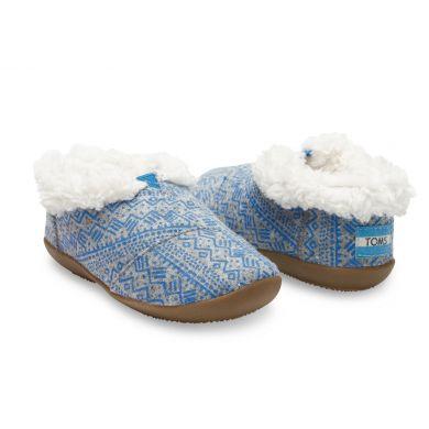 Dětské šedo-modré bačkůrky TOMS Tribal Tiny Slip s kožíškem