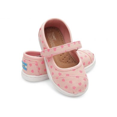 Pink Canvas Hearts Tiny TOMS Mary Jane Flat