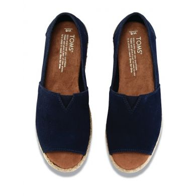 Modré dámské semišové TOMS Open Toe Alpargata