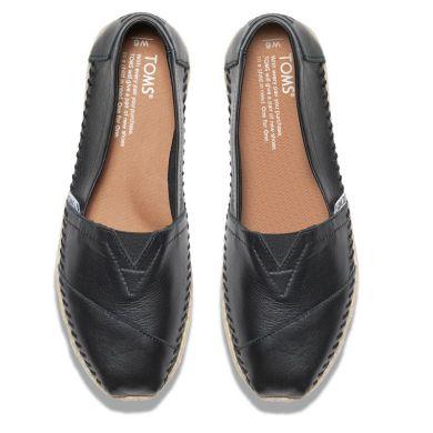 Černé dámské kožené TOMS Classic Alpargata