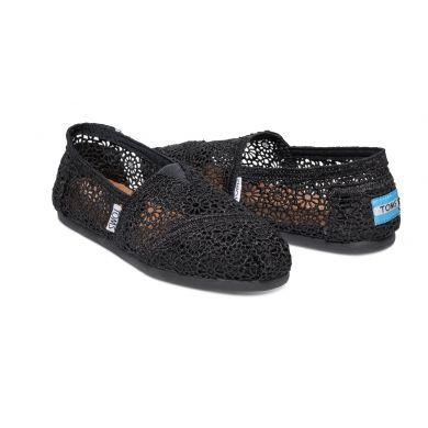 Dámske čierne TOMS Marrocan Crochet Alpargata