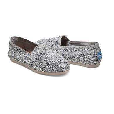 Stříbrné dámské TOMS Metallic Crochet Alpargata