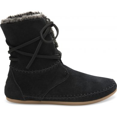Čierne dámske semišové členkové topánky TOMS Zahara Bootie