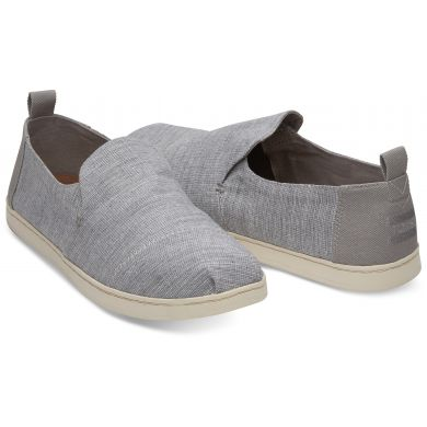Pánske sivé TOMS Chambray Striped Deconstructed Alpargatas