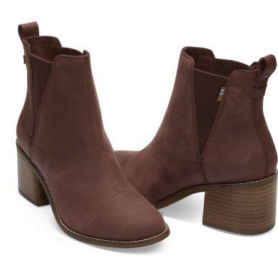Dámske hnedé topánky na podpätku TOMS Leather Esme