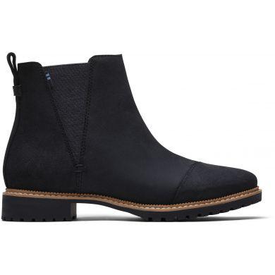 Dámske čierne kožené členkové topánky TOMS Cleo