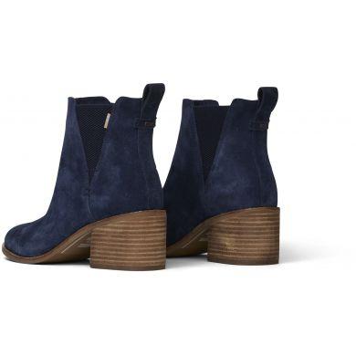 Dámske modré semišové topánky na podpätku TOMS Esme