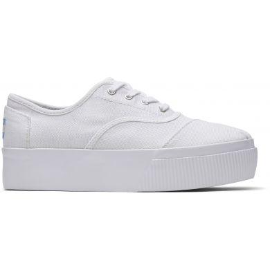 Dámske biele plátené tenisky TOMS Cordones Boardwalk