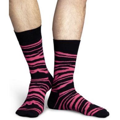 Černo-růžové ponožky Happy Socks se vzorem Zebra