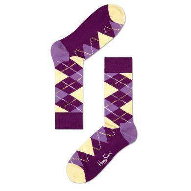 Fialovo-žluté ponožky Happy Socks s károvaným vzorem Argyle