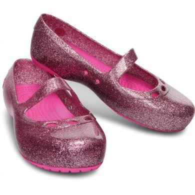 Carlisa Glitter Flat Girls Carnation/Neon Magenta