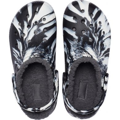Classic Lined Marbled Clog White/black