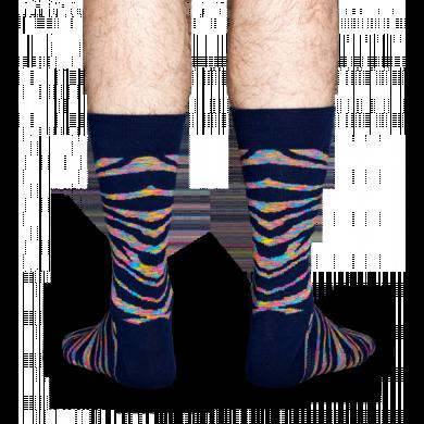 Černé ponožky Happy Socks s barevným vzorem Zebra